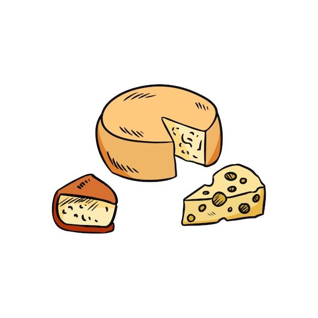 Conjunto de queijo de mão desenhada doodle colorido orgânico Vetor Premium