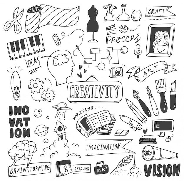 Conjunto de rabiscos de criatividade Vetor Premium