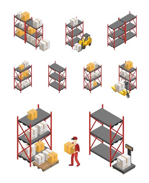 Conjunto de racks de armazenamento Vetor grátis