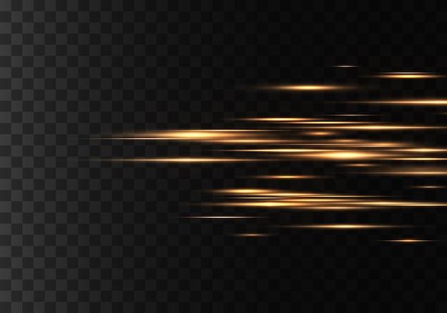 Conjunto de raios horizontais de cores, lentes, linhas. raios laser. amarelo, dourado luminoso abstrato espumante forrado. clarões de luz, efeito. vetor Vetor Premium