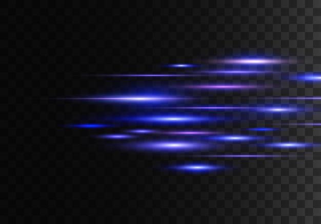 Conjunto de raios horizontais de cores, lentes, linhas. raios laser. azul, roxo luminoso abstrato cintilante forrado fundo transparente. clarões de luz, efeito. vetor Vetor Premium