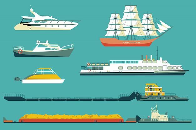 Conjunto de rebocadores industriais e barcos de passageiros e iates Vetor Premium