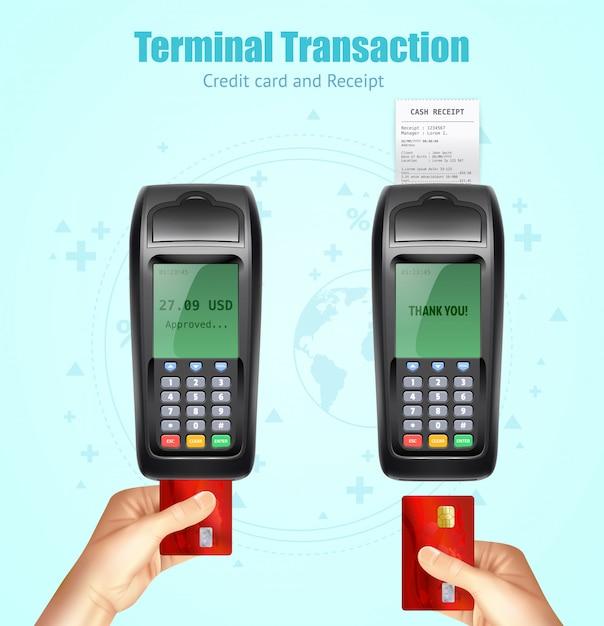 Conjunto de recebimento de pagamento com cartão de banco de crédito Vetor grátis