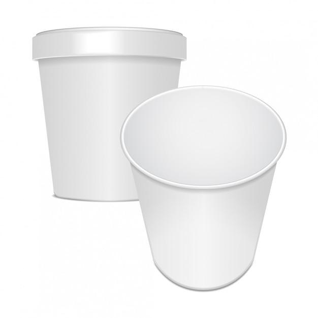 Conjunto de recipiente de copo de comida em branco para fast-food, sobremesa, sorvete, iogurte ou lanche. ilustração, modelo Vetor Premium