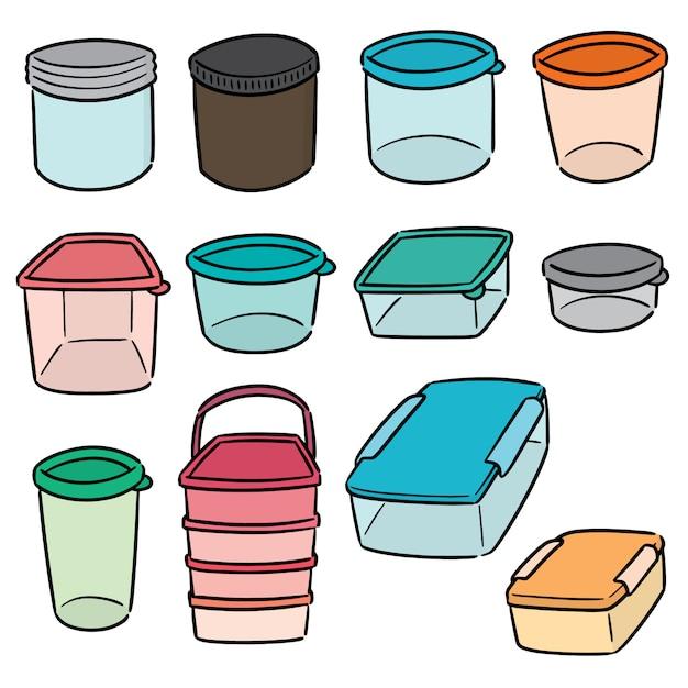 Conjunto de recipiente de plástico Vetor Premium
