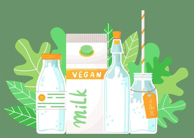 Conjunto de recipientes de leite. garrafa de plástico com rótulo, embalagem cartonada com leite vegan, garrafa com rolha, garrafa com canudo e rótulo, coquetel de leite Vetor Premium