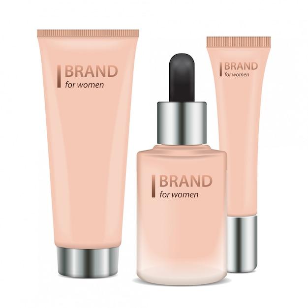 Conjunto de recipientes realistas. maquete do modelo de tubo de vidro fosco de embalagens para produtos cosméticos Vetor Premium