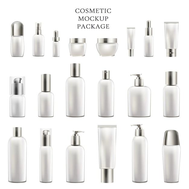 Conjunto de recipientes vazios para corpo e rosto cosméticos Vetor Premium