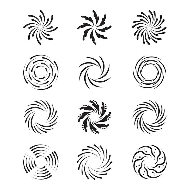 Conjunto de redemoinhos giratórios Vetor grátis