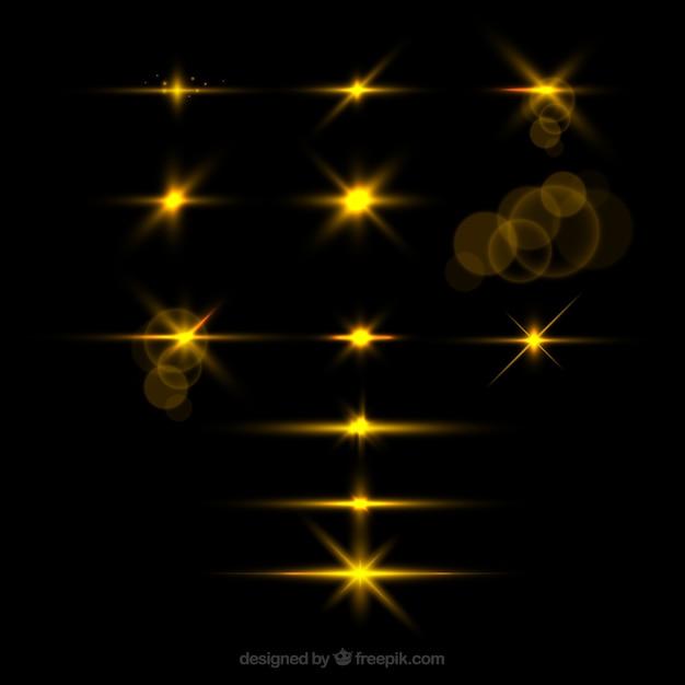 Conjunto de reflexo de lente dourada com estilo realista Vetor grátis