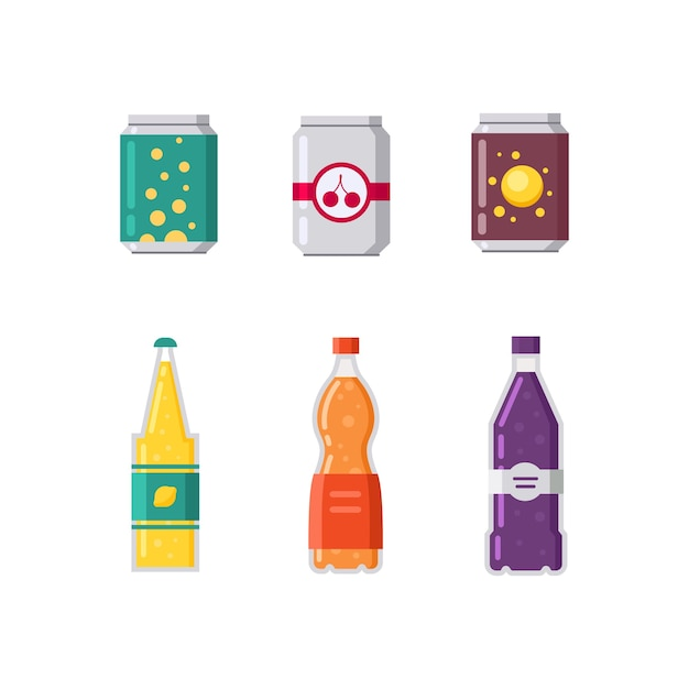 Conjunto de refrigerantes e suco em ilustração de embalagens de plástico e alumínio. Vetor Premium