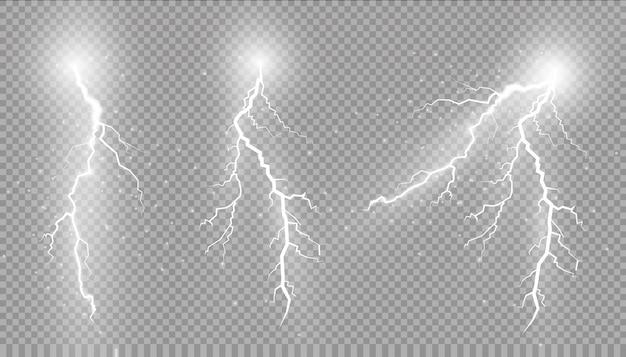 Conjunto de relâmpagos. efeitos de iluminação mágicos e brilhantes. Vetor Premium