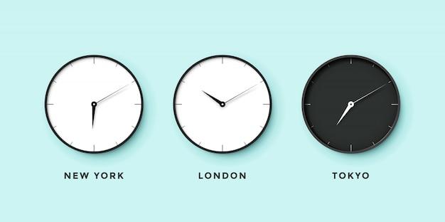 Conjunto de relógio diurno e noturno para diferentes fusos horários Vetor Premium