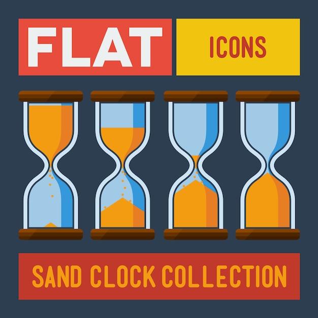 Conjunto de relógios de areia chatos Vetor Premium