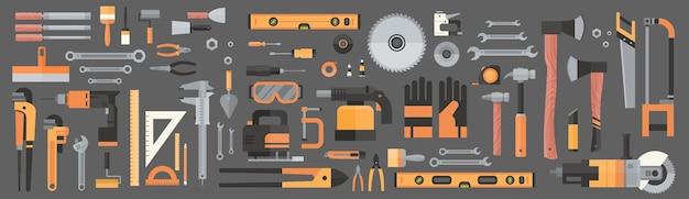 Conjunto de reparação e construção de ferramentas manuais de trabalho Vetor Premium
