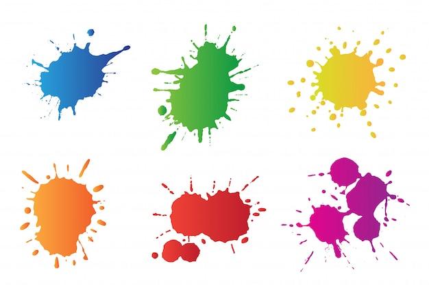 Conjunto de respingos de tinta Vetor Premium