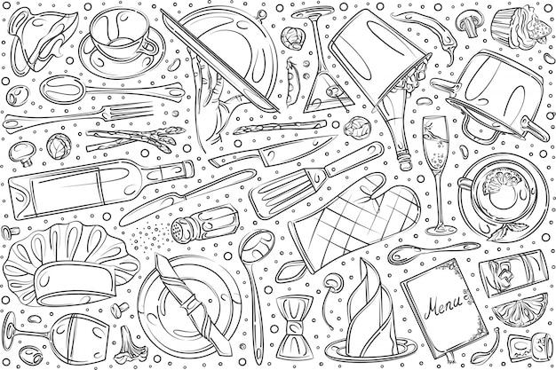 Conjunto de restaurante de mão desenhada doodle fundo Vetor Premium