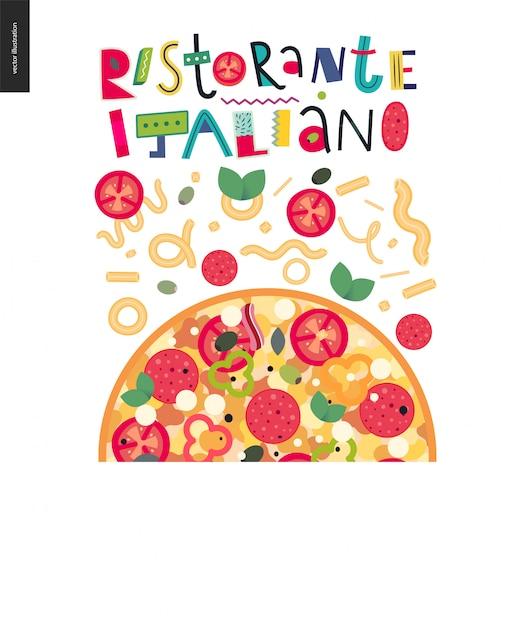 Conjunto de restaurante italiano Vetor Premium