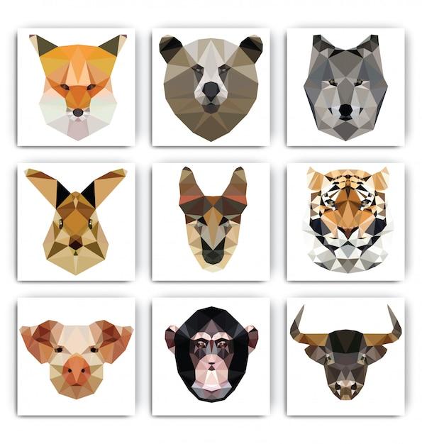 Conjunto de retrato animal geométrico poligonal Vetor Premium