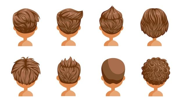Conjunto de retrovisor de cabelo menino. cabeça de um menino. penteado bonito. moda moderna de criança de variedade para sortimento. cabelo longo, curto e encaracolado. penteados salão e corte de cabelo moderno do sexo masculino. Vetor Premium