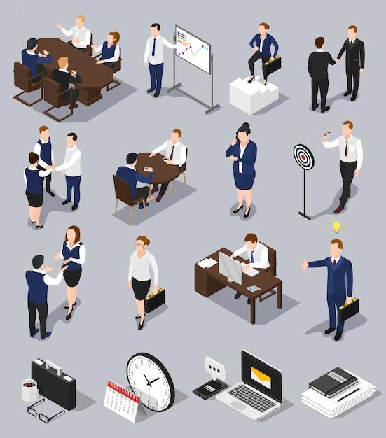 Conjunto de reuniões de negócios isométrica Vetor grátis