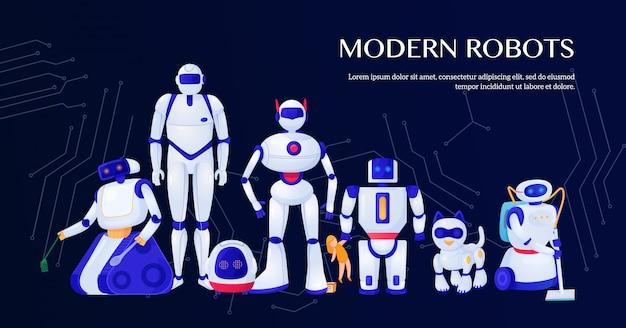 Conjunto de robôs modernos com ilustração de elementos de circuito integrado Vetor grátis