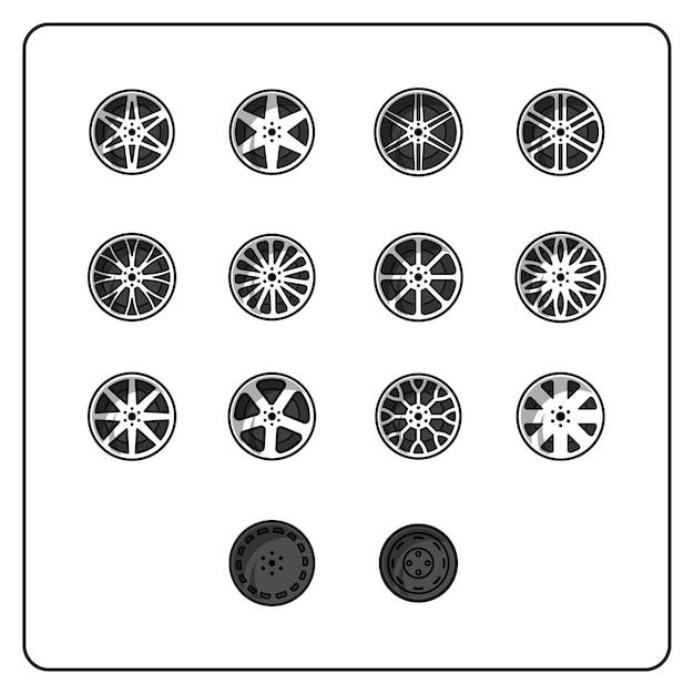 Conjunto de rodas fácil editável Vetor Premium