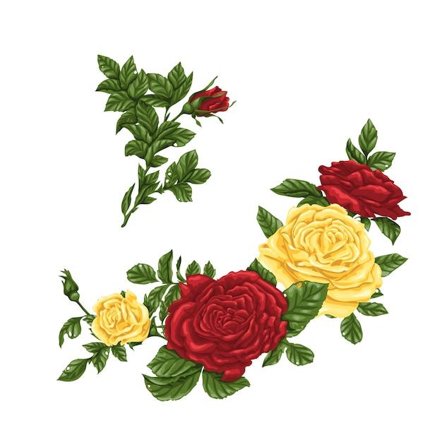 Conjunto De Rosas Amarelas E Vermelhas Buquês Flores E Botões