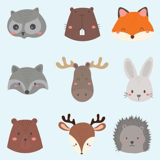 Conjunto de rosto de animais fofo da floresta. Vetor Premium