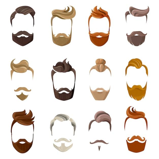 Conjunto de rosto de barba e penteados Vetor grátis