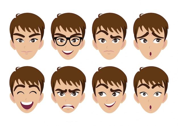 Conjunto de rosto de homem e emoções diferentes Vetor Premium