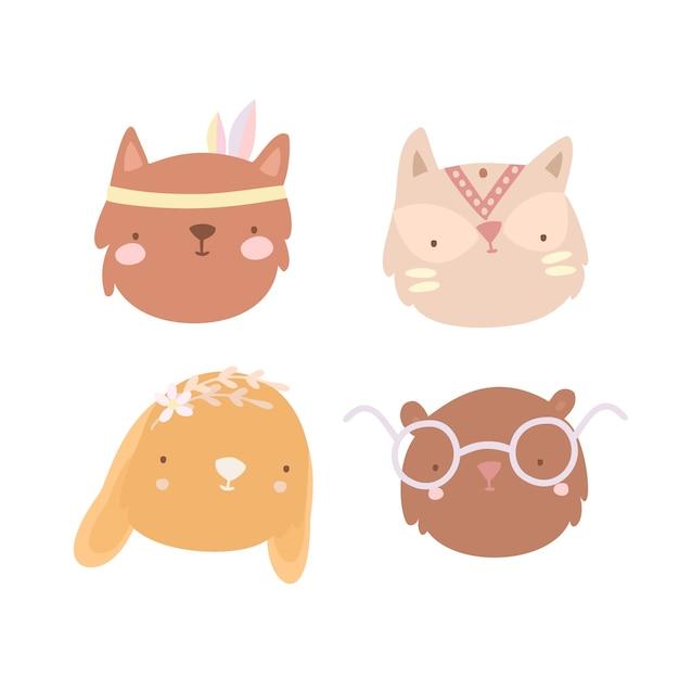 Conjunto de rostos de animais boho Vetor grátis