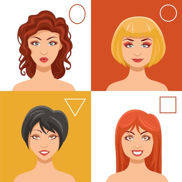 Conjunto de rostos de mulheres Vetor grátis