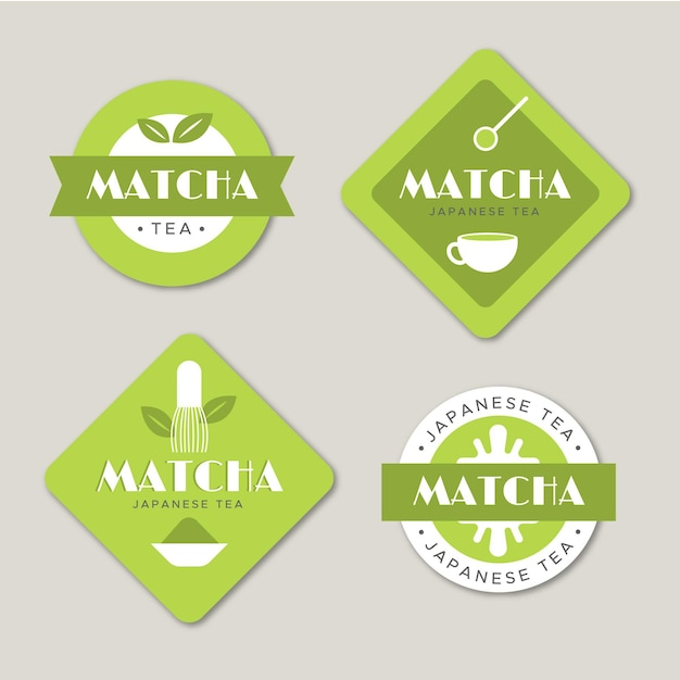 Conjunto de rótulo de chá matcha minimalista verde Vetor grátis