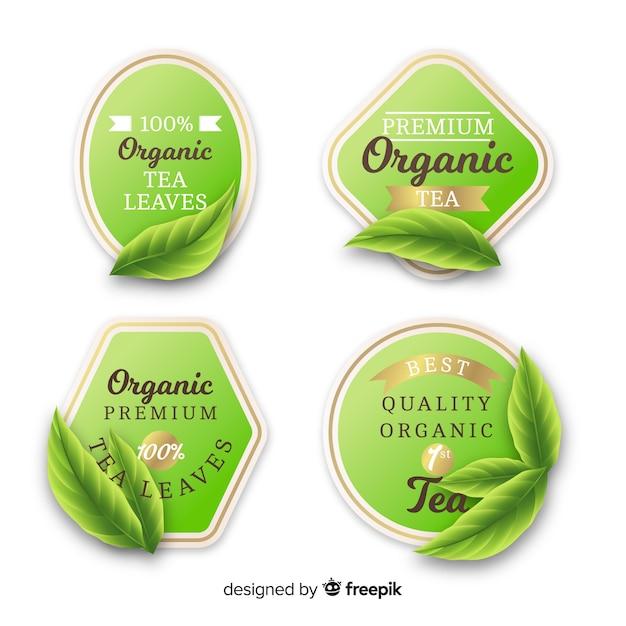 Conjunto de rótulo de chá orgânico realista Vetor grátis