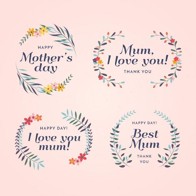 Conjunto de rótulo de dia das mães de design plano Vetor grátis
