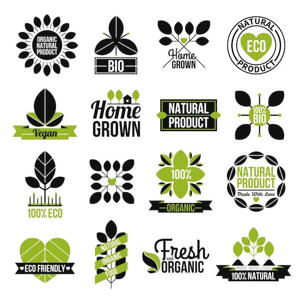 Conjunto de rótulo de produto natural orgânico Vetor grátis
