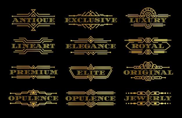 Conjunto de rótulo de qualidade premium dourado, modelo de logotipo de texto de ouro com contorno contorno elegante logotipo com moldura linear, elemento decorativo de luxo, coleção de emblemas vintage, ilustração isolada Vetor Premium