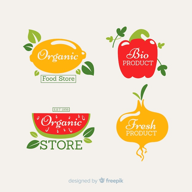 Conjunto de rótulo fresco de frutas e legumes Vetor grátis