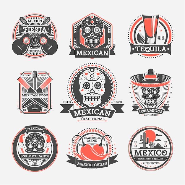 Conjunto de rótulo isolado vintage mexicano Vetor Premium