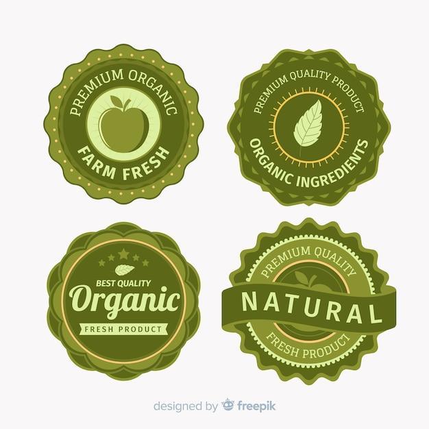 Conjunto de rótulo vintage frutas orgânicas Vetor grátis