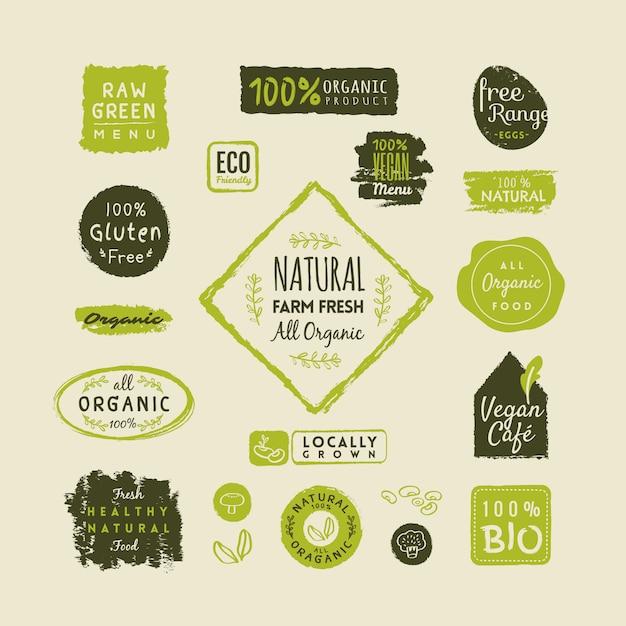 Conjunto de rótulos de alimentos orgânicos e elementos Vetor Premium
