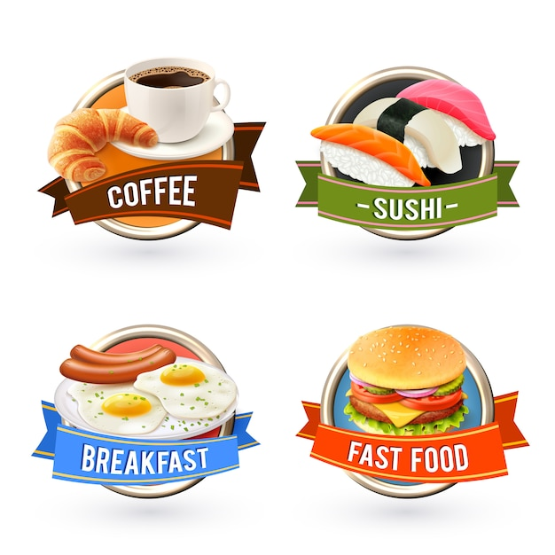 Conjunto de rótulos de café da manhã Vetor grátis