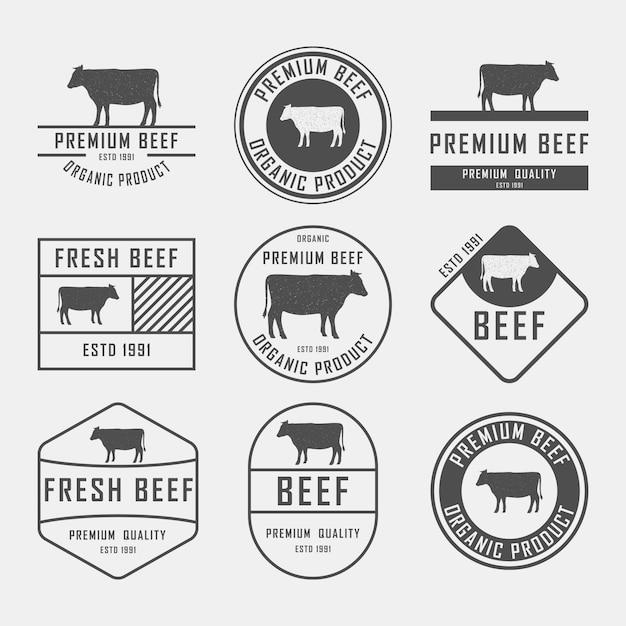 Conjunto de rótulos de carne premium, emblemas e elementos de design. ilustração. Vetor Premium