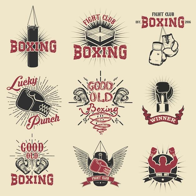 Conjunto de rótulos de clube de boxe, emblemas e elementos de design. Vetor Premium