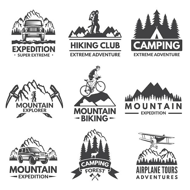 Conjunto de rótulos de explorador. fotos de viagens Vetor Premium