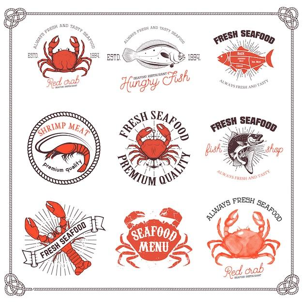 Conjunto de rótulos de frutos do mar, isolado no fundo branco. elemento de design para o logotipo, etiqueta, emblema, sinal, menu, cartaz. Vetor Premium