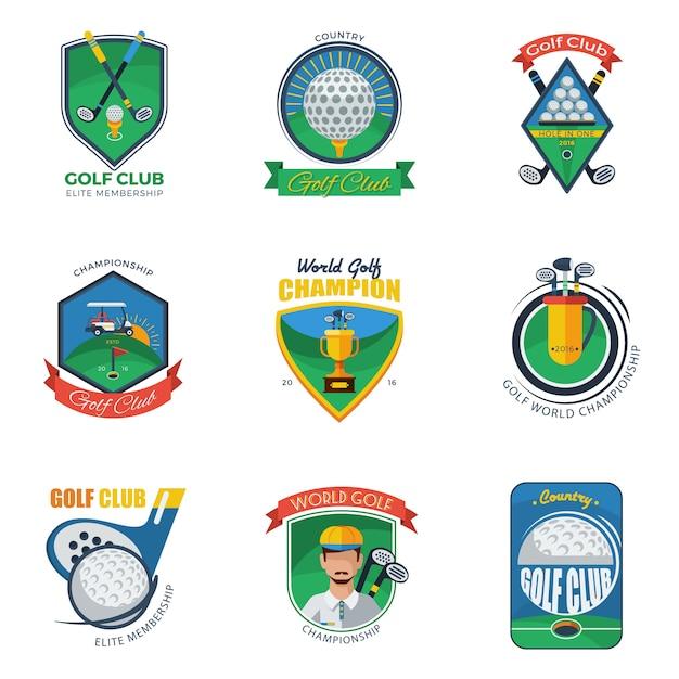 Conjunto de rótulos de golfe Vetor grátis