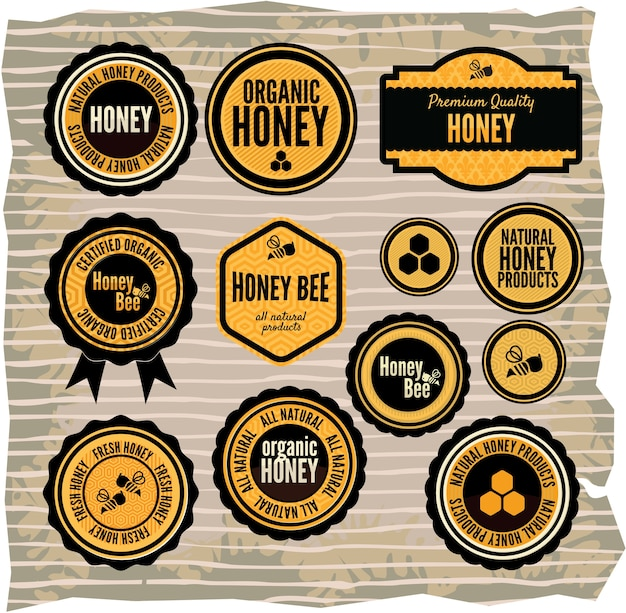 Conjunto de rótulos de mel e abelha Vetor Premium