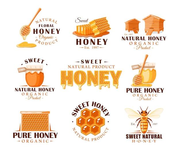 Conjunto de rótulos de mel vintage. modelos para a concepção de logotipos e emblemas. coleção de símbolos de mel: abelha, colmeia, favo de mel. Vetor Premium